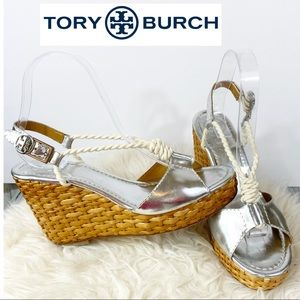 TORY BURCH Leather Silver Wedge Navy Rope 8.5